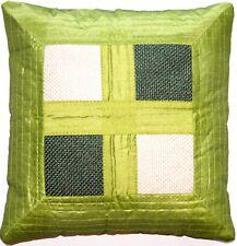 Pistachio Grün Dupion Seide Kissenbezug mit Strukturstoff aus Indien - 40 x 40cm