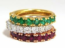 3.92ct stackable natural vivid red ruby emerald diamond bands 14kt. g/vs +