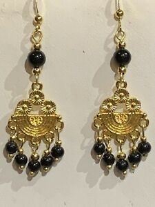 HAND-CRAFTED NATURAL BLACK ONYX ART-DECO INSPIRED CHANDELIER EARRINGS.g-NEW