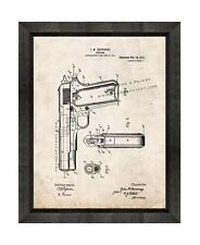 Colt 1911 Gun Patent Print Old Look in a Beveled Black Wood Frame