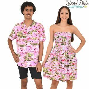 Pink Flamingo Tube Dress & Hawaiian Shirt Couples Set