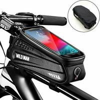 Faireach Bike Frame Bag with Mobile Phone Holder, Bicycle Top Tube Pouch,