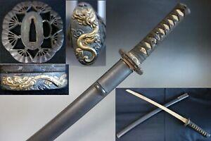 koshirae katana saya fan tsuba Samurai menuki Dragon fuchi kashira Sword fitting