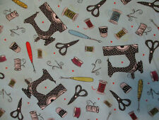 SCISSORS SEWING ITEMS HAIR SCISSOR VARIETY COLORS TAN INLAY COTTON FABRIC FQ