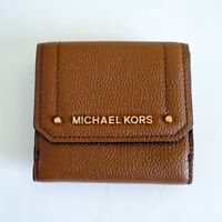 NWT Michael Kors Hayes Medium Trifold Coin Case Leather Wallet Brown (Luggage)