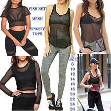 New Womens Crop Top Mesh Lace Fishnet Sporty Gym Yoga Stretch Vest Tank T Shirt