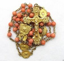 † HTF ANTIQUE 18K YELLOW GOLD ELEMENTS & NATURAL CORAL ROSARY NECKLACE  MEDALS †