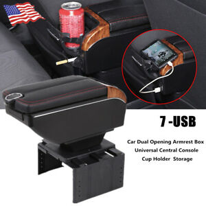 1PCS 7 USB PU leather+ABS Charging Car Dual Opening Armrest Box Central Console