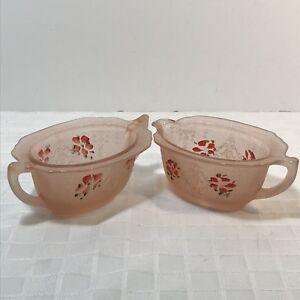 Embossed Hand Painted Flower Pink Glass Creamer Sugar Set
