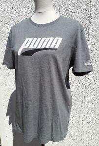 Puma Mens Size M Grey Logo Fitness Top T Shirt Sports Gym Run Wear Tee Medium