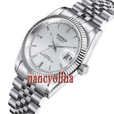 Polished Parnis 36mm silver dial sapphire glass Miyota Automatic date watch P02