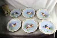 Set 12 French limoges marked porcelain bird pheasant dinner plate signed