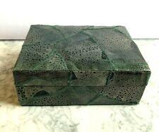 Vintage! NEIMAN MARCUS Animal Skin Green Jewelry Treasures Box Lizard/Crocodile