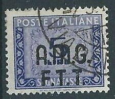 1947-49 TRIESTE A USATO SEGNATASSE 2 RIGHE 5 LIRE - RR13074