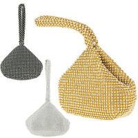 Ladies Diamante Wrist Strap Clutch Bag Gem Pouch Evening Bag Hoop Handbag KH2491