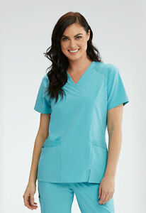 """Wellness by Barco One #012 V-Neck Detailed Scrub Top in """"Aqua Sea"""" Size M"""