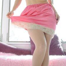 VTG Style Hand made CORAL Mini SHINY LACY SATIN 2 Tone Half Slip Skirt  L MINI