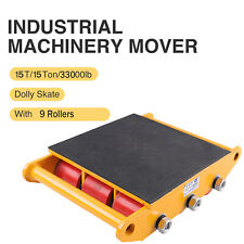 US Heavy Duty Machine Dolly Skate Machinery Roller Mover Cargo Trolley 15 Ton