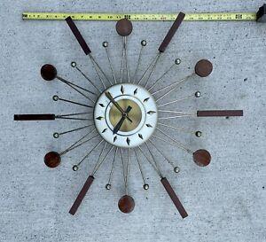 vintage retro Sunburst starburst mid century Atomic clock