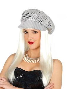 Silver Sequins Ladies 60s 70s Sequin Hat Disco Fancy Dress Hen Party Costume Cap