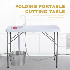 Folding Portable Fish Fillet Hunting Cleaning Cutting Table Camping Sink Faucet
