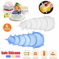 🔥 6/12x Stretch Silicone Lids Food Bowl Cover Storage Wraps Seals Reusable Lids