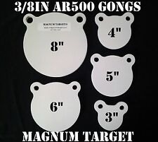 3,4,5,6&8in. AR500 Gong Shooting Targets-3/8in.Rifle Targets-5pc Steel Targets