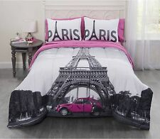 4-Piece Bedding Comforter Set Queen Size kids Teens Bedroom Bed Sets Paris Bag