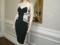 NEW $980 ELISABETTA FRANCHI ITALY BODYCON HALTER DRESS STRAPS 42/6