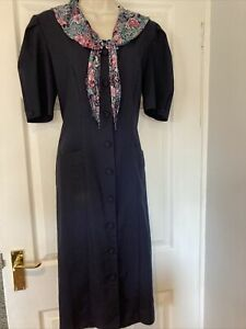 Vintage 1980's Dorothy Perkins Navy Midi Button Front Dress Floral Collar 12