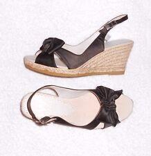 SARA NAVARRO sandales compensées satin noir cuir et corde P 37 neuves