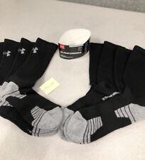 New 4 Pairs Under Armour Mens Performance Crew Black Socks- L Shoe Size 9-12.5
