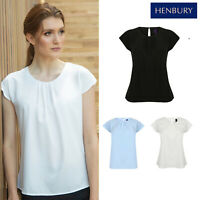 Henbury Womens Pleat Front Short Sleeve Blouse