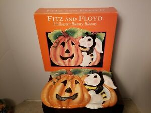 Fitz And Floyd Essentials Halloween Bunny Blooms Canape Plate