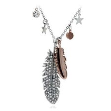 Women's  Rhinestone Double Leaf Pendant Jewellery Necklace Silver Colour