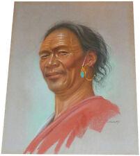 1955 Rare DOUGLAS GORAY Art  -  Tibet Man with Jade  -  ORIGINAL PASTEL PAINTING