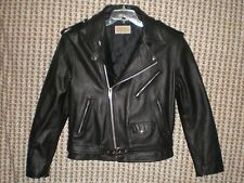 "Men's St John's Bay Black Leather Motorcycle Jacket Lined C: 48"" W: 44"" L: 24"""