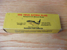 Vintage Hanson Fish Lure Co True Action Plug in Gold Pearl Color in Yellow Box