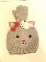 NEW Girls Cat Kitty Beanie with Matching Mittens Gray One Size ~ Harper Canyon