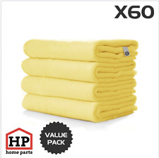 60 X Professional Washable Microfibre Cloths Extra-Large Super Thickness Yellow