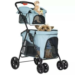 4 Wheel Double Pet Stroller One-Hand Folding Dog Jogging Strollers Travel Cat St