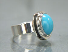 Sleeping Beauty Turquoise Ring With Black Jade Inlay. Argentium Silver. Size 8.