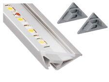 Aufbau Alu Eck Profil Leiste 2m 3-reihig + Abdeckung + Endkappe - für LED Band
