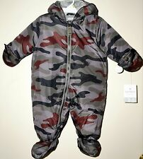 CARTER'S Infant Boys' Hooded Pram Snow Suit Mitten GRAY CAMO PRINT 3-6 Month NWT