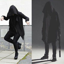 Cool Men Hooded Jacket Long Cardigan Black Ninja Goth Gothic Punk Hoodie XN