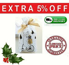 Christmas Drawstring Gift Bags Stocking Fillers Wrap Presents Favour Bags XMAS