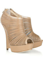 JIMMY CHOO ELLIE NUDE LEATHER AND MESH WEDGES 38 UK 5