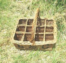 More details for antique vintage  wicker 12  bottle basket early 1900's l & c weathered