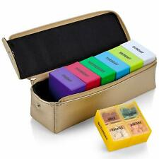 Large Weekly Pill Organiser Box in Gold Leather Case - 7 Day Week Pill Planner