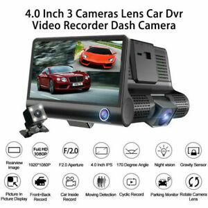"4"" Car DVR Dash Cam 3 Lens Front and Rear Video Recorder Camera G-sensor Tracker"